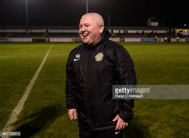 Bray , Ireland - 16 April 2018; Bray Wanderers manager Graham Kelly celebrates after the SSE Airtricity League Premier Division match between Bray...