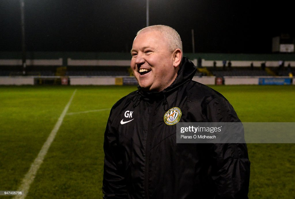 Bray , Ireland - 16 April 2018; Bray Wanderers manager Graham Kelly celebrates after the SSE Airtricity League Premier Division match between Bray Wanderers and Shamrock Rovers at the Carlisle Grounds in Bray, Wicklow.