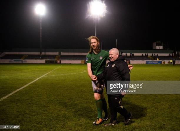 Bray , Ireland - 16 April 2018; Bray Wanderers manager Graham Kelly and Hugh Douglas celebrate after the SSE Airtricity League Premier Division match...