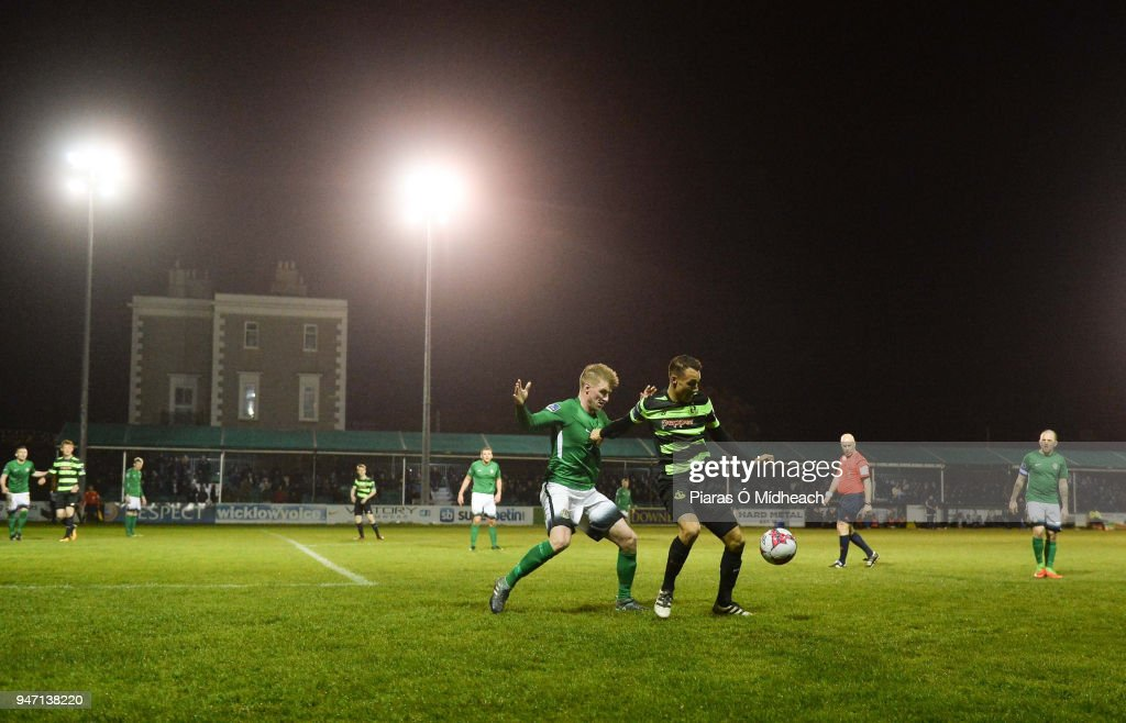 Bray , Ireland - 16 April 2018; Graham Burke of Shamrock Rovers in action against Paul O'Conor of Bray Wanderers during the SSE Airtricity League Premier Division match between Bray Wanderers and Shamrock Rovers at the Carlisle Grounds in Bray, Wicklow.