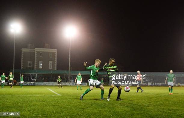 Bray Ireland 16 April 2018 Graham Burke of Shamrock Rovers in action against Paul O'Conor of Bray Wanderers during the SSE Airtricity League Premier...