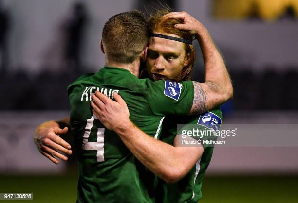 Bray Ireland 16 April 2018 Hugh Douglas of Bray Wanderers behind celebrates with teammate Conor Kenna after the SSE Airtricity League Premier...
