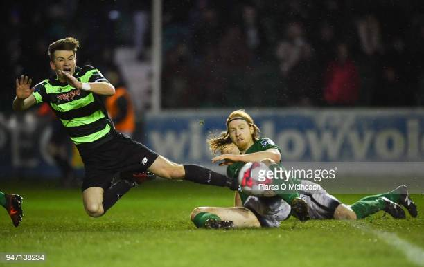 Bray Ireland 16 April 2018 Ronan Finn of Shamrock Rovers in action against Hugh Douglas of Bray Wanderers during the SSE Airtricity League Premier...