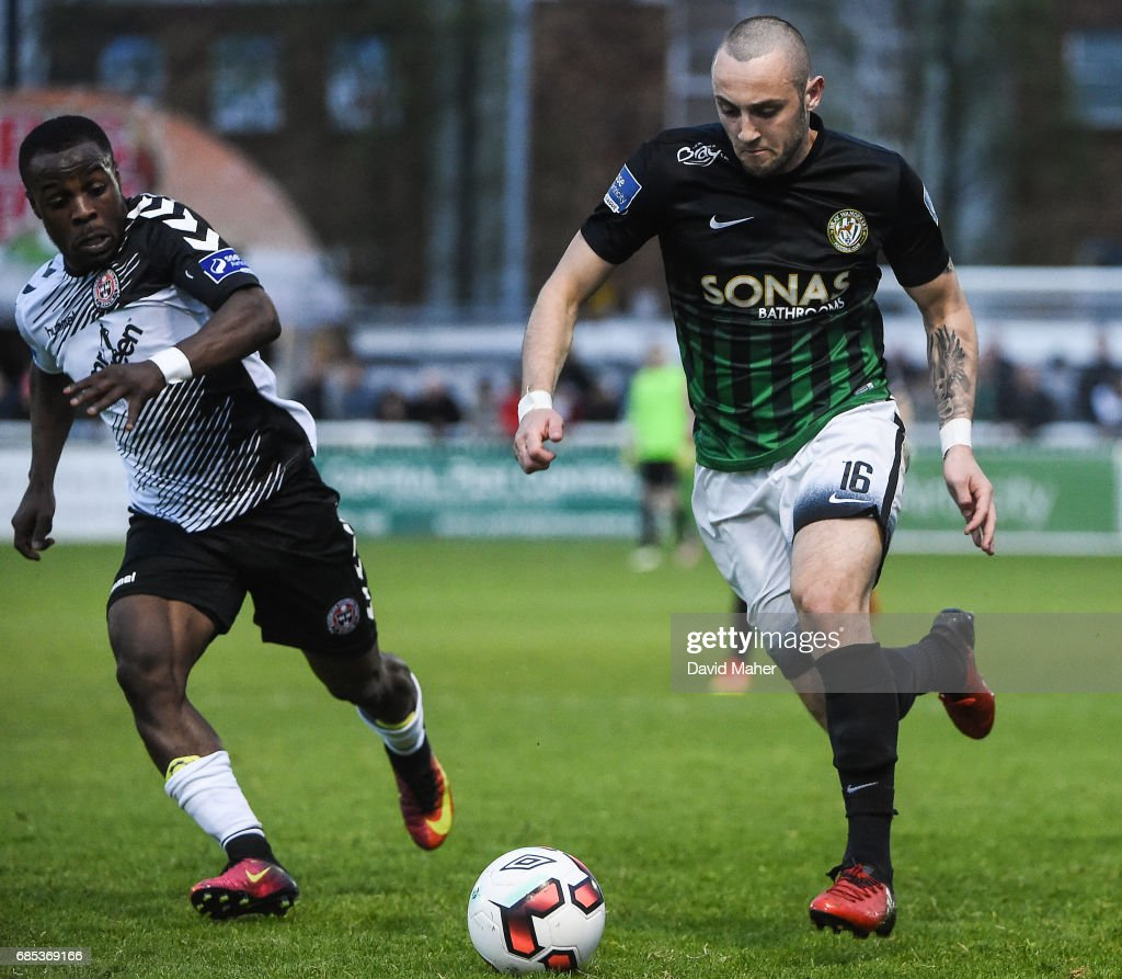 Bray , Ireland - 19 May 2017; Dylan Connolly of Bray Wanderers in action against Fuad Sule of Bohemians during the SSE Airtricity League Premier Division match between Bray Wanderers and Bohemians at the Carlisle Grounds in Bray, Co Wicklow.