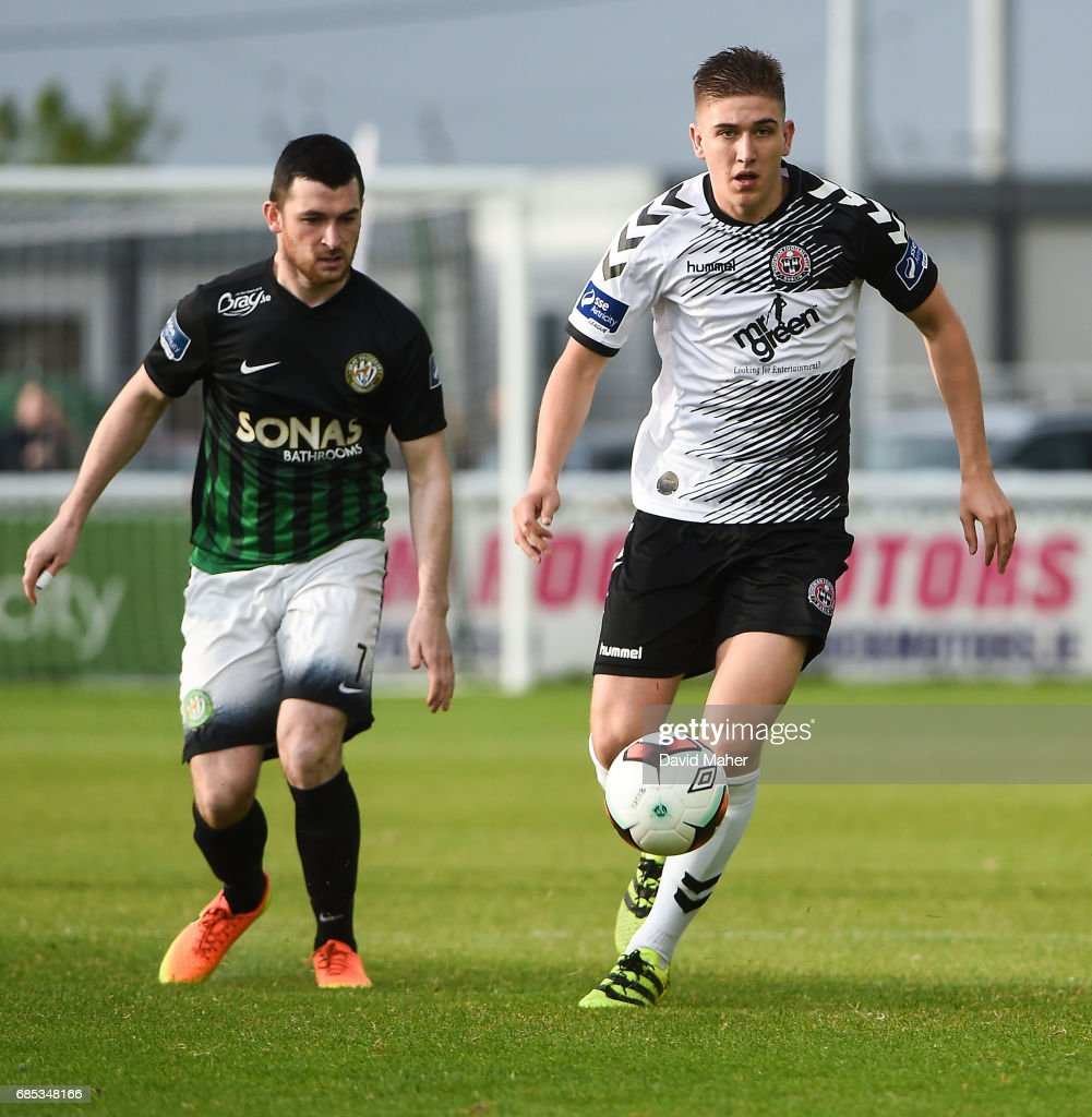 Bray , Ireland - 19 May 2017; Oscar Brennan of Bohemians in action against Ryan Brennan of Bray Wanderers during the SSE Airtricity League Premier Division match between Bray Wanderers and Bohemians at the Carlisle Grounds in Bray, Co Wicklow.