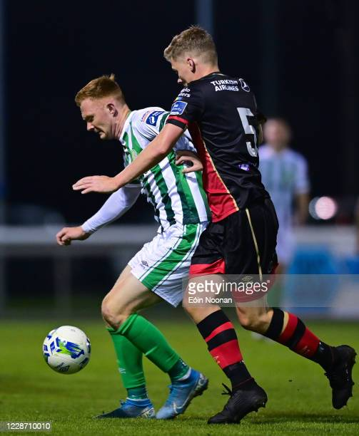 Bray , Ireland - 25 September 2020; Gary Shaw of Bray Wanderers in action against Derek Prendergast of Drogheda United during the SSE Airtricity...