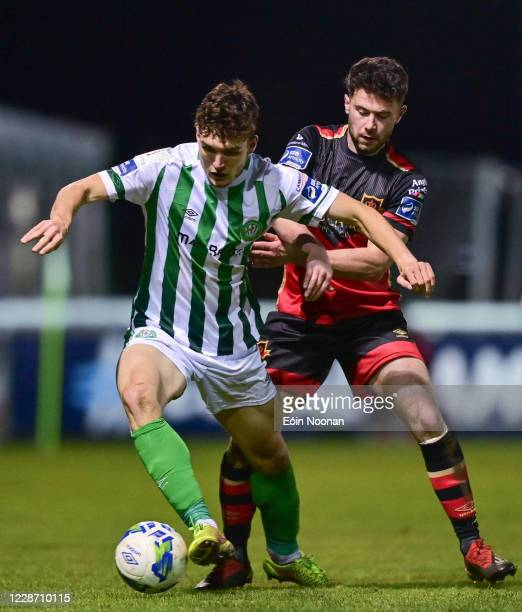 Bray , Ireland - 25 September 2020; Luka Lovic of Bray Wanderers is tackled by Mark Hughes of Drogheda United during the SSE Airtricity League...