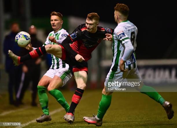 Bray , Ireland - 25 September 2020; Mark Doyle of Drogheda United in action against John Ross Wilson, left, and Callum Thompson of Bray Wanderers...