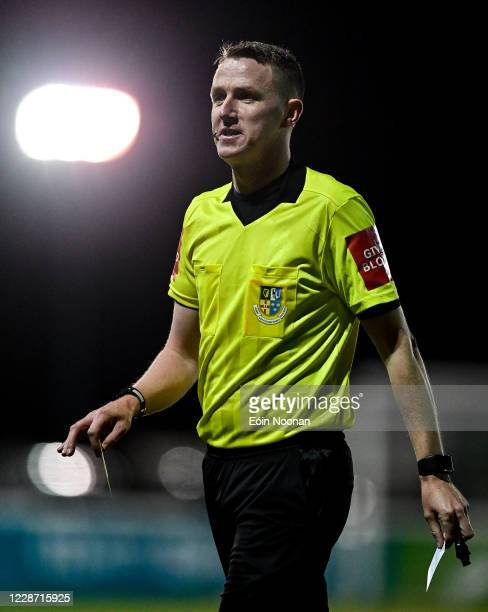 Bray , Ireland - 25 September 2020; Referee Damien MacGraith during the SSE Airtricity League Premier Division match between Bray Wanderers and...