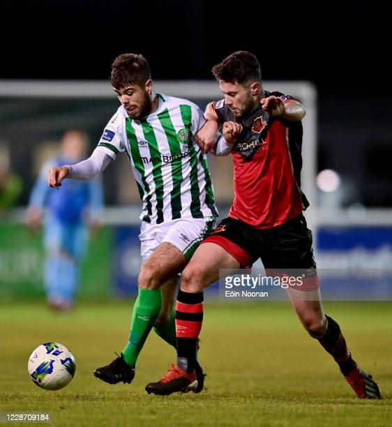 Bray , Ireland - 25 September 2020; Seán McEvoy of Bray Wanderers in action against Mark Hughes of Drogheda United during the SSE Airtricity League...