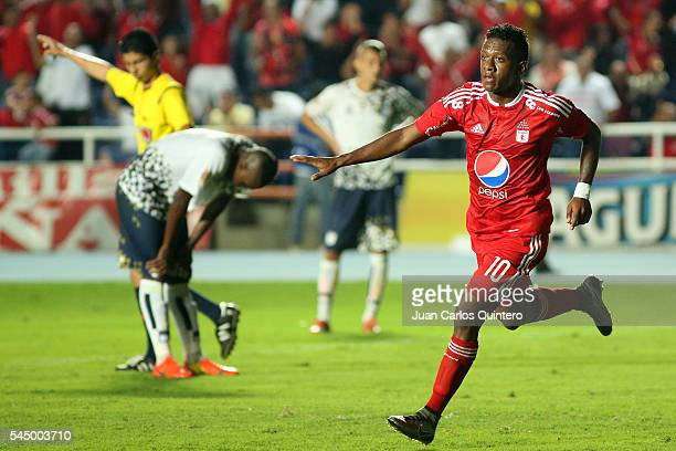 Brayan Angulo of America de Cali celebrates after scoring the opening goal during a match between Atletico FC and America de Cali as part of round 1...
