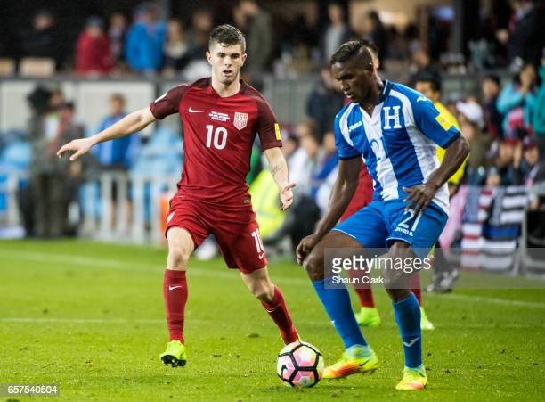 Brayan Beckeles of Honduras and Christian Pulisic of United States during the World Cup Qualifier match between the United States and Honduras at...