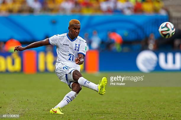 Brayan Beckeles of Honduras kicks the ball during the 2014 FIFA World Cup Brazil Group E match between Honduras and Switzerland at Arena Amazonia on...