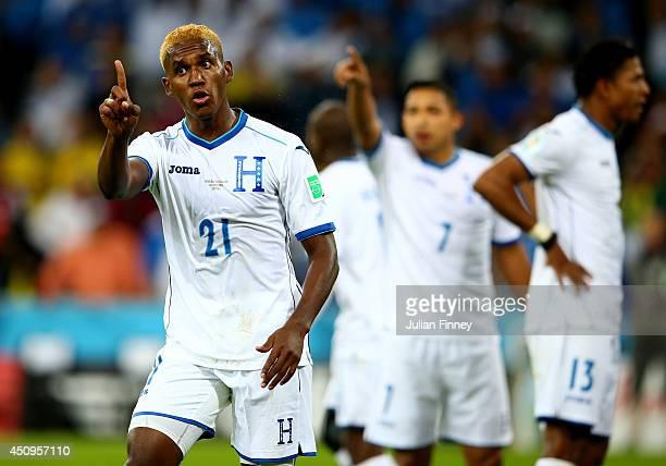 Brayan Beckeles of Honduras reacts after a call during the 2014 FIFA World Cup Brazil Group E match between Honduras and Ecuador at Arena da Baixada...
