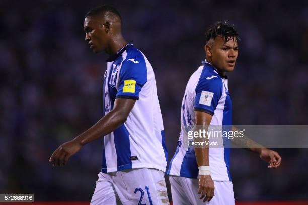 Brayan Beckeles of Honduras reacts during a first leg match between Honduras and Australia as part of FIFA World Cup Qualifiers Play Off at Estadio...