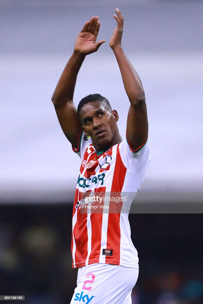Brayan Beckeles of Necaxa celebrates after winning the 14th round match between America and Necaxa as part of the Torneo Apertura 2017 Liga MX at Azteca Stadium on October 21, 2017 in Mexico City, Mexico.