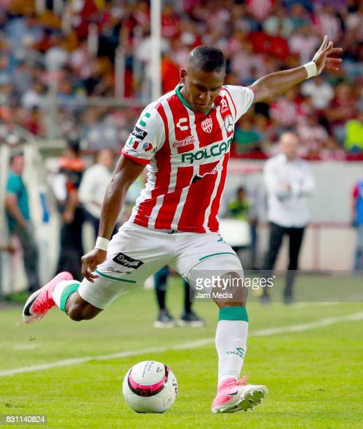 Brayan Beckeles of Necaxa kicks the ball during the 4th round match between Necaxa and Leon as part of the Torneo Apertura 2017 Liga MX at Victoria...