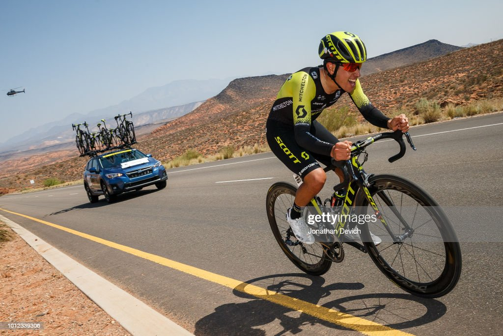 Brayan Chaves Rubio of Colombia and Team Mitchelton - Scott on the way back towards the finish during today's prologue on August 6, 2018 in St. George, Utah.