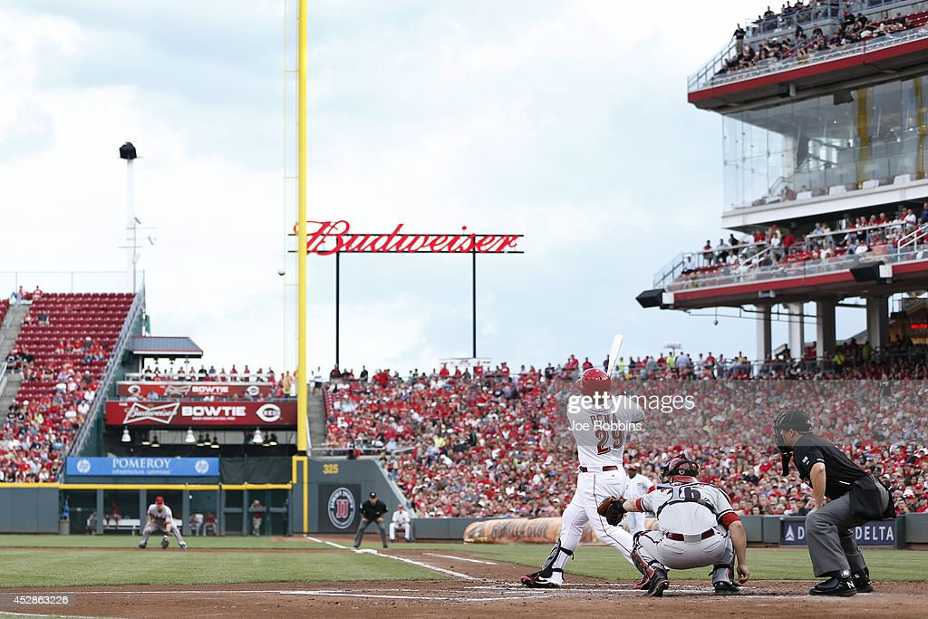 Brayan Pena #29 of the Cincinnati Reds doubles to right field in the second inning of the game against the Arizona Diamondbacks at Great American Ball Park on July 28, 2014 in Cincinnati, Ohio.