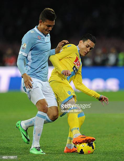 Brayan Perea of Lazio and Jose Maria Callejon of Napoli in action during the TIM Cup match between SSC Napoli and SS Lazio at Stadio San Paolo on...