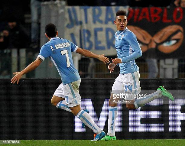 Brayan Perea with his teammate Felipe Anderson of SS Lazio celebrates after scoring the second team's goal during the TIM cup match between SS Lazio...