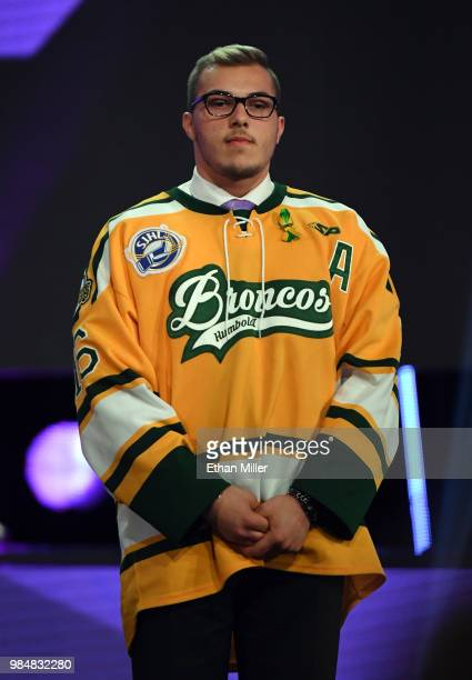 Brayden Camrud of the Humboldt Broncos junior hockey league team stands onstage during the 2018 NHL Awards presented by Hulu at The Joint inside the...
