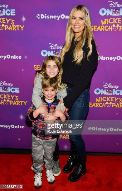 "Brayden El Moussa, Taylor El Moussa, and Christina Anstead attend 2019 Disney On Ice ""Mickey's Search Party"" at Staples Center on December 13, 2019..."