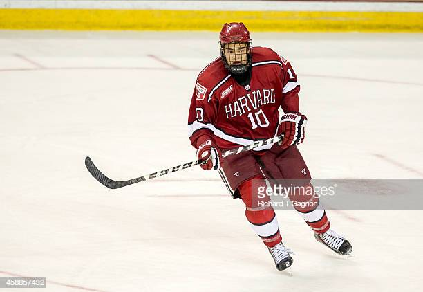 Brayden Jaw of the Harvard Crimson skates against the Boston College Eagles during NCAA hockey at Kelley Rink on November 11, 2014 in Chestnut Hill,...