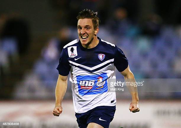 Brayden Mann of South Hobart celebrates scoring their second goal during the FFA Cup match between Sydney United 58 FC and South Hobart at Sydney...
