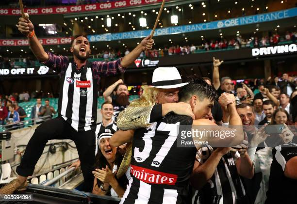 Brayden Maynard of the Magpies celebrates with Collingwood fan Joffa after the round three AFL match between the Sydney Swans and the Collingwood...
