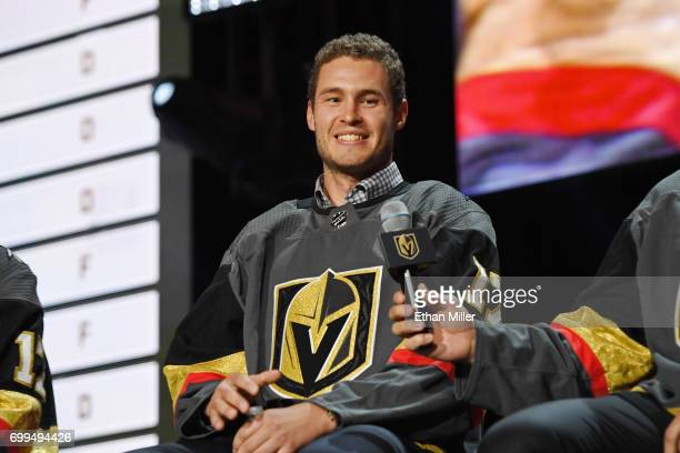 Brayden McNabb is interviewed after being selected by the Vegas Golden Knights during the 2017 NHL Awards and Expansion Draft at TMobile Arena on...