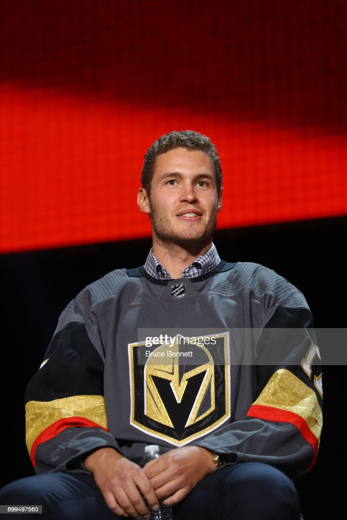 Brayden McNabb is interviewed after being selected by the Las Vegas Golden Knights during the 2017 NHL Awards and Expansion Draft at T-Mobile Arena on June 21, 2017 in Las Vegas, Nevada.
