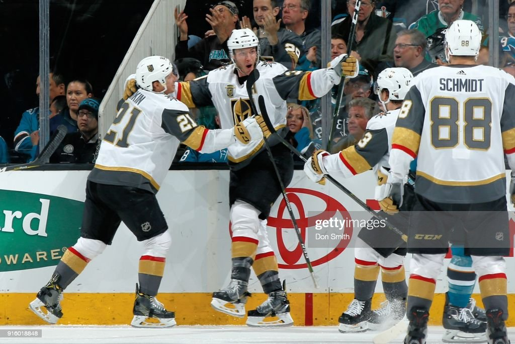 Brayden McNabb #3 of the Vegas Golden Knights celebrates his third period goal against the San Jose Sharks with teammates Cody Eakin #21, Brendan Leipsic #13 and Nate Schmidt #88 at SAP Center on February 8, 2018 in San Jose, California.
