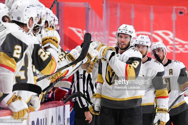 June 20: Brayden McNabb of the Vegas Golden Knights celebrates with the bench after scoring a goal against the Montreal Canadiens in Game Four of the...