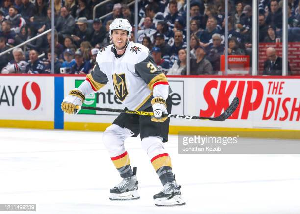 Brayden McNabb of the Vegas Golden Knights keeps an eye on the play during second period action against the Winnipeg Jets at the Bell MTS Place on...