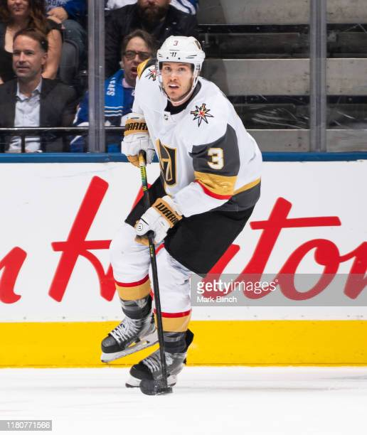 Brayden McNabb of the Vegas Golden Knights plays the puck against the Toronto Maple Leafs during the second period at the Scotiabank Arena on...