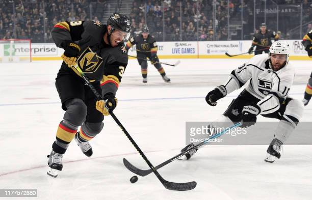 Brayden McNabb of the Vegas Golden Knights skates during the first period against the Los Angeles Kings at T-Mobile Arena on September 27, 2019 in...