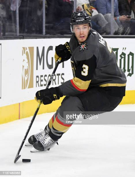 Brayden McNabb of the Vegas Golden Knights skates with the puck against the Winnipeg Jets in the first period of their game at T-Mobile Arena on...