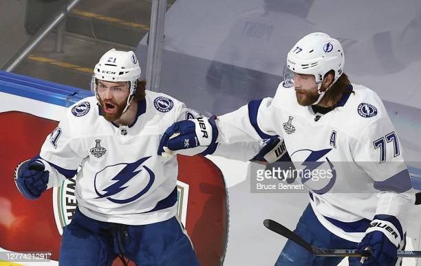 Brayden Point and Victor Hedman of the Tampa Bay Lightning celebrate a goal against the Dallas Stars in Game Six of the 2020 NHL Stanley Cup Final at...