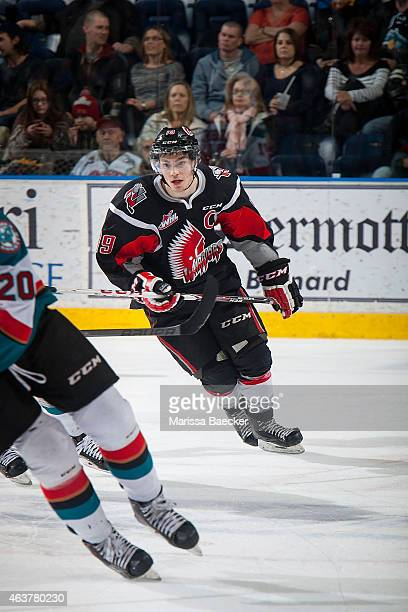 Brayden Point of Moose Jaw Warriors skates against the Kelowna Rockets on February 14 2015 at Prospera Place in Kelowna British Columbia Canada