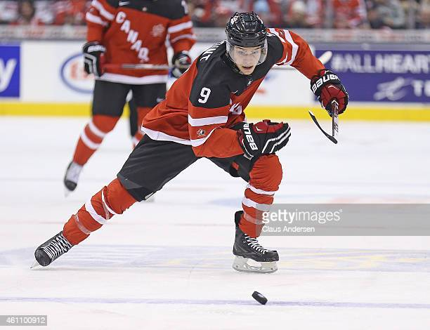 Brayden Point of Team Canada skates after a loose puck against Team Russia during the gold medal game in the 2015 IIHF World Junior Hockey...