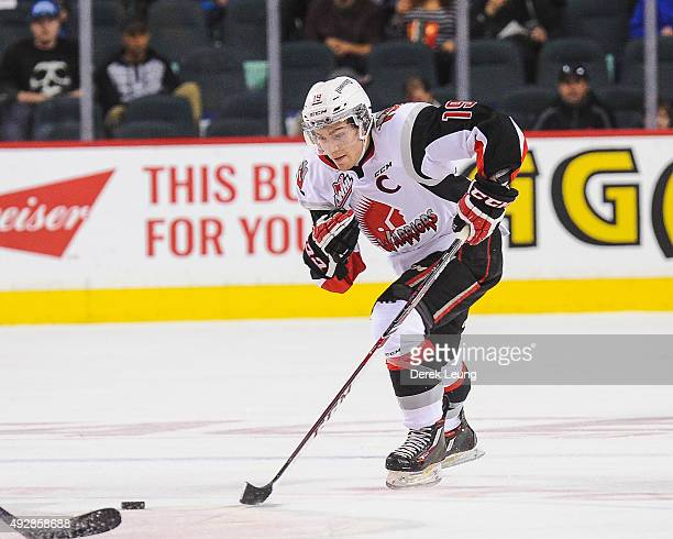 Brayden Point of the Moose Jaw Warriors skates against the Calgary Hitmen during a WHL game at Scotiabank Saddledome on October 15 2015 in Calgary...