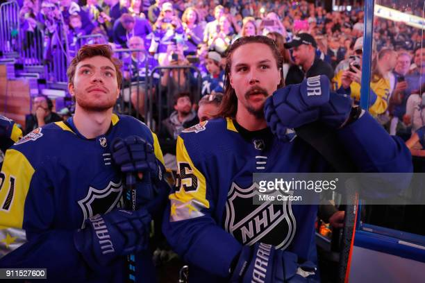 R} Brayden Point of the Tampa Bay Lightning and Erik Karlsson of the Ottawa Senators wait to be introduced during the 2018 Honda NHL AllStar Game at...