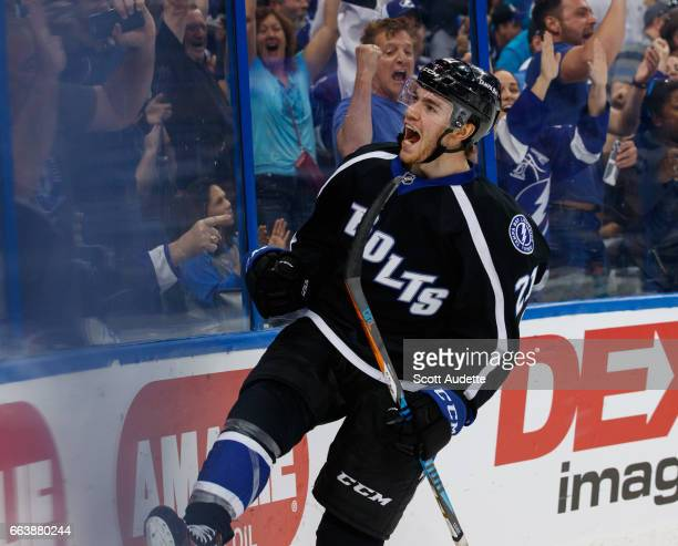 Brayden Point of the Tampa Bay Lightning celebrates a goal against the Dallas Stars during third period at Amalie Arena on April 2 2017 in Tampa...