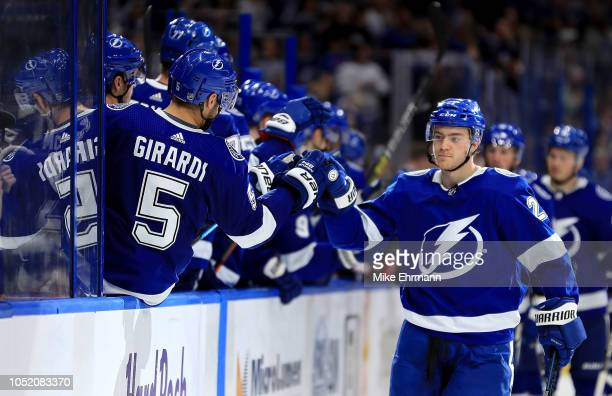 Brayden Point of the Tampa Bay Lightning celebrates a goal during a game against the Columbus Blue Jackets at Amalie Arena on October 16 2018 in...