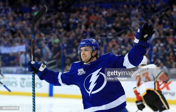 Brayden Point of the Tampa Bay Lightning celebrates a goal during a game against the Calgary Flames at Amalie Arena on January 11 2018 in Tampa...