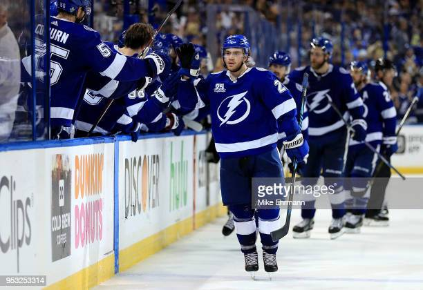 Brayden Point of the Tampa Bay Lightning celebrates a goal during Game Two of the Eastern Conference Second Round against the Boston Bruins during...