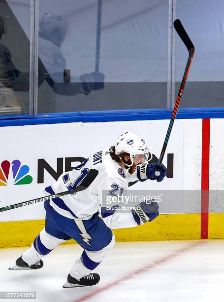 Brayden Point of the Tampa Bay Lightning celebrates after scoring a goal against the Dallas Stars during the first period in Game Six of the 2020 NHL...
