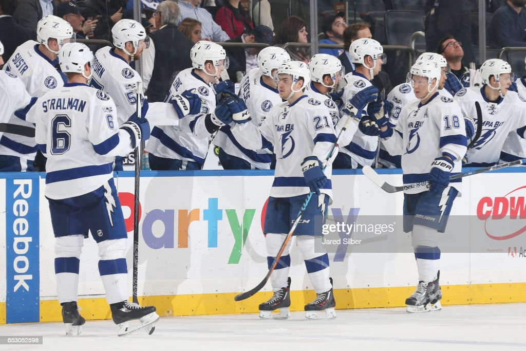 Brayden Point #21 of the Tampa Bay Lightning celebrates after scoring a goal in the third period against the New York Rangers at Madison Square Garden on March 13, 2017 in New York City.