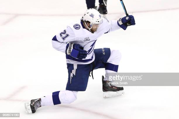Brayden Point of the Tampa Bay Lightning celebrates after scoring a goal on Braden Holtby of the Washington Capitals during the second period in Game...